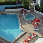 View of pool deck from my room