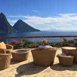View of the Pitons from the upstairs deck