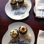Beautiful complimentary birthday cakes.