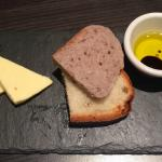 Bar 92 - complimentary bread with oil/vinegar eye. That is butter not cheese!!