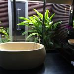 Fantastic tub, indoor and outdoor shower
