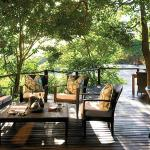 Shaded deck overlooking the perennial Sabie River