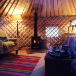 This log burner makes for a very cosy yurt!