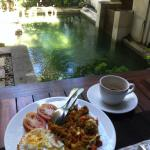 Enjoying Nasi Goreng Bandung and Chai beside The Crystal Plunged Pool at Al-Isha