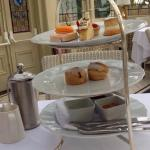 Sweet afternoon tea, scones and cakes.