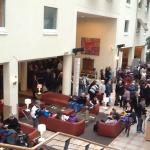 Queue of the fair visitors in the Hotel's Lobby