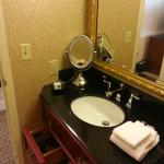 Bathroom vanity with drawers, hairdryer, makeup mir