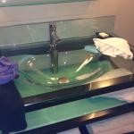 Everything was sparkling Clean . Loved the glass sink