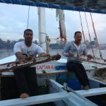 Aly (left) and Khaled on a felucca