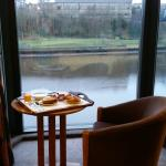 Breakfast in the room over looking the river Tyne.