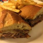 Room service, the Philly cheese steak sandwich.
