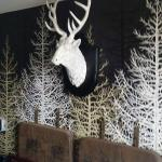 Love the stags head in the bedroom