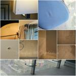 Carpets need deep cleaning and care.  Peeling wallpaper, cracked lamp shade, uncovered fire alar