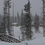 Taken from the main lodge, a view of the bridge leading to the cabins