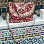Carpet bag on the water feature in the courtyard