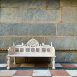 White marble courtyard bench