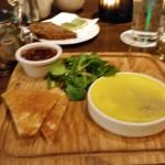 Duck Pate with a butter cap & a pear apricot chutney