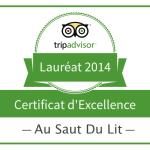 Certificat excellence 2014 trip advsior