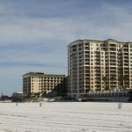 View of hotel from the beach. Taller section of building are the Residences at Sandpearl.
