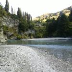 The Shotover river, our own private beach.
