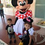 Minnie Mouse with the kids.