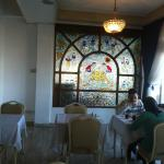 Breakfast room with stained glass window