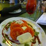 caprese salad with a Shirley Crimple