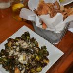 Fabulous side dishes of fried brussel sprouts and homemade potato chips