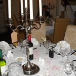 Our dining table at the wedding reception, the tag is our table group ID