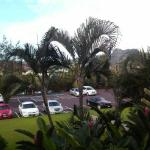 View of parking lot/mountains from building