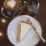Delicious Cheesecake and Latte in the Celestine Hotel's Cafe.