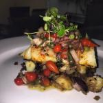 Roasted Cod w olive & sweet pepper tapenade, lyonnaise potato