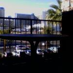 Room's outdoor balcony with view of the Strip (looking West towards monorail)