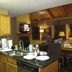 Kitchen,dining, living room,gas fireplace