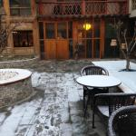 Hotel courtyard in snow