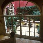 interior courtyard with view from stairs and breakfast room