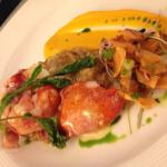 Butter poached lobster with vanilla scented carrots and sunchoke. Valentine's Day dinner special