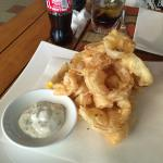 Deep fried baby squids and onion ring at Mare - a bit too oily but crispy