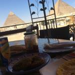 an AMAZING breakfast with the pyramids
