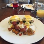Crab cake Benedict from waters edge grill