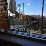 Outdoor seating area for warmer weather.