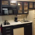 Kitchenette, small but modern and adequate.  No oven.