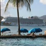 Watching the cruise ship from the pool
