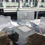 An ice sculpture at the Ice Bar