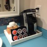 Nice added amenity, the in-room Keurig with coffee and tea