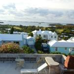 View of 3/4 of Bermuda- the Harbour & pool patio