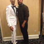 Groom and I at art more hotel vday wedding