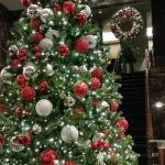Lobby decorations at Christmastime
