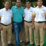 With staff members
