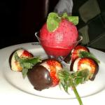 chocolate covered strawberries and sorbet for Valentine's Day